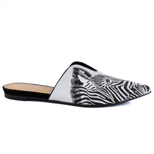 Mule Nobuck Zebra Wild Vicenza - Gelo/Preto