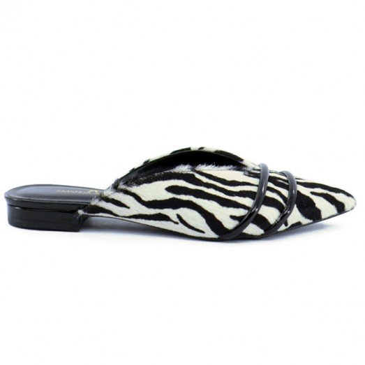 Mule Rasteira Pelo Zebra Amanda Ayello - Animal Print