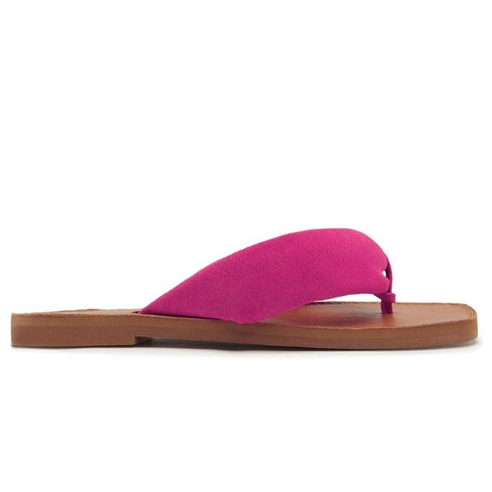 Rasteira Flat Slide Flip-Flop Ana Suede Schutz - Pink
