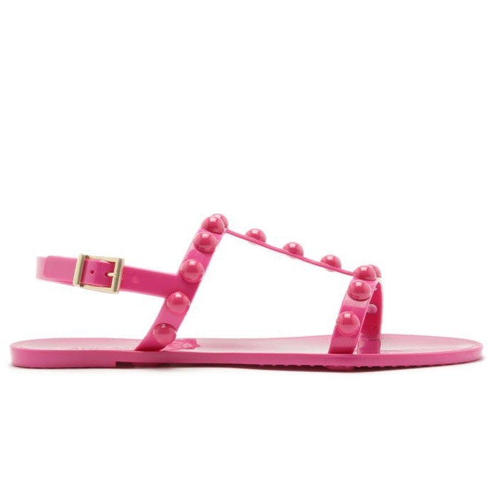 Sandália Injetado Bico Redondo Aplicações Resina Arezzo - Summer Pink