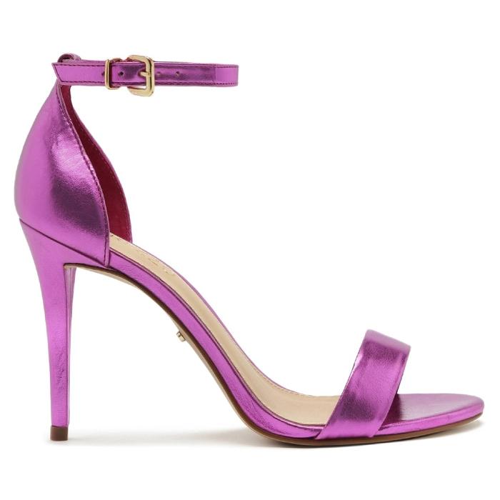 Sandália Isabelli Metalizada Salto Alto Arezzo - Pink