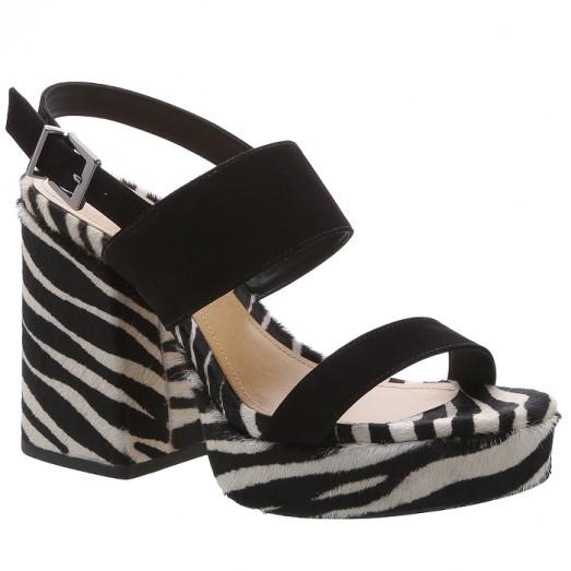 Sandália Meia Pata Bold Schutz - Black/Zebra