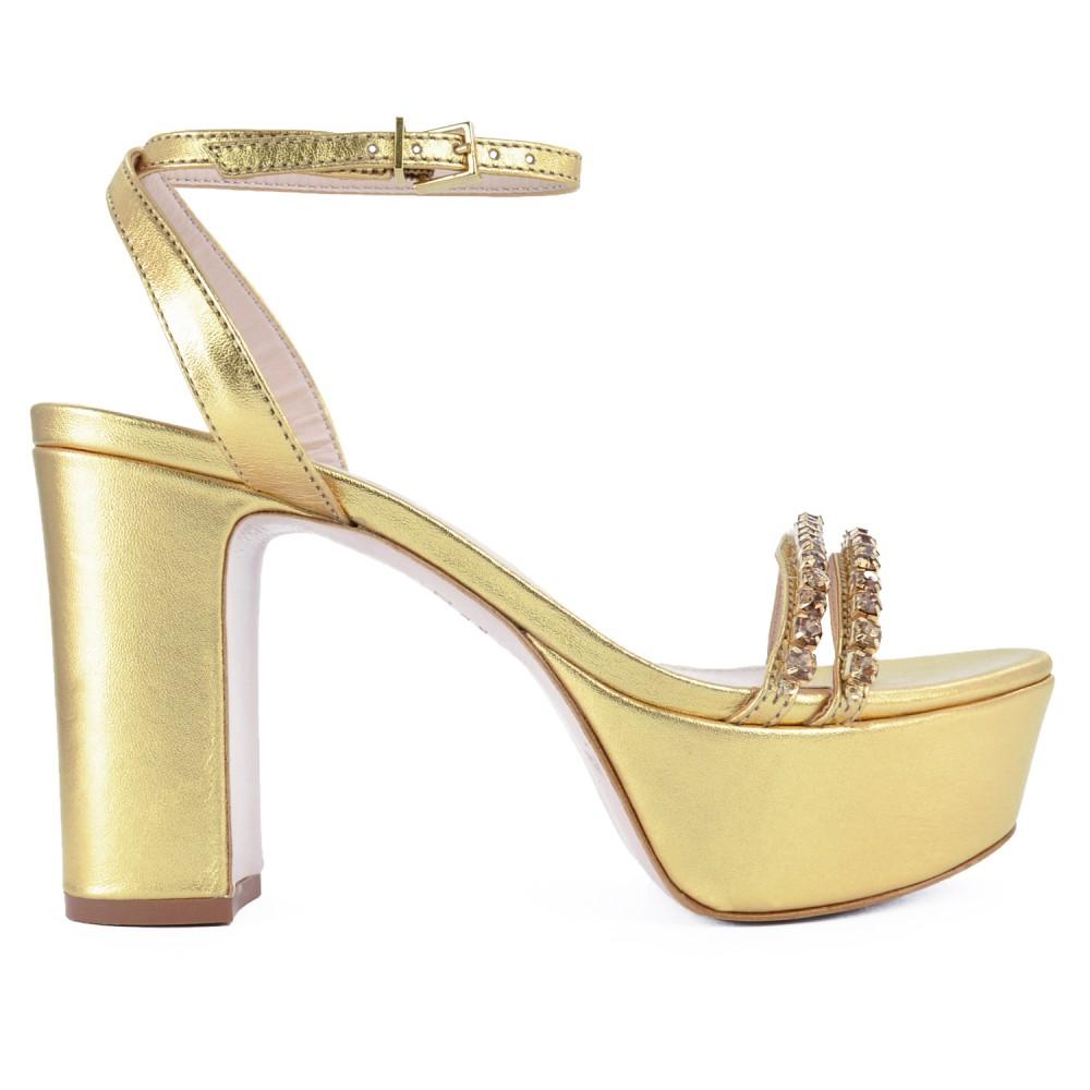 Sandália Meia Pata Metalizada Schutz - Dourada