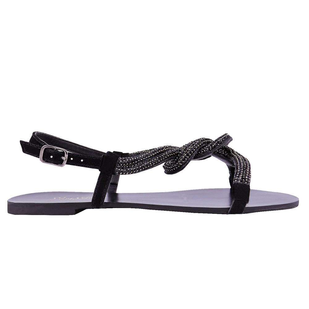 Sandália Nó Duplo Brilho Mumu - Preta