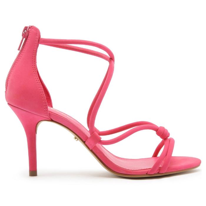 Sandália Nobuck Salto Médio Fino Tiras Arezzo - Pink Absolut