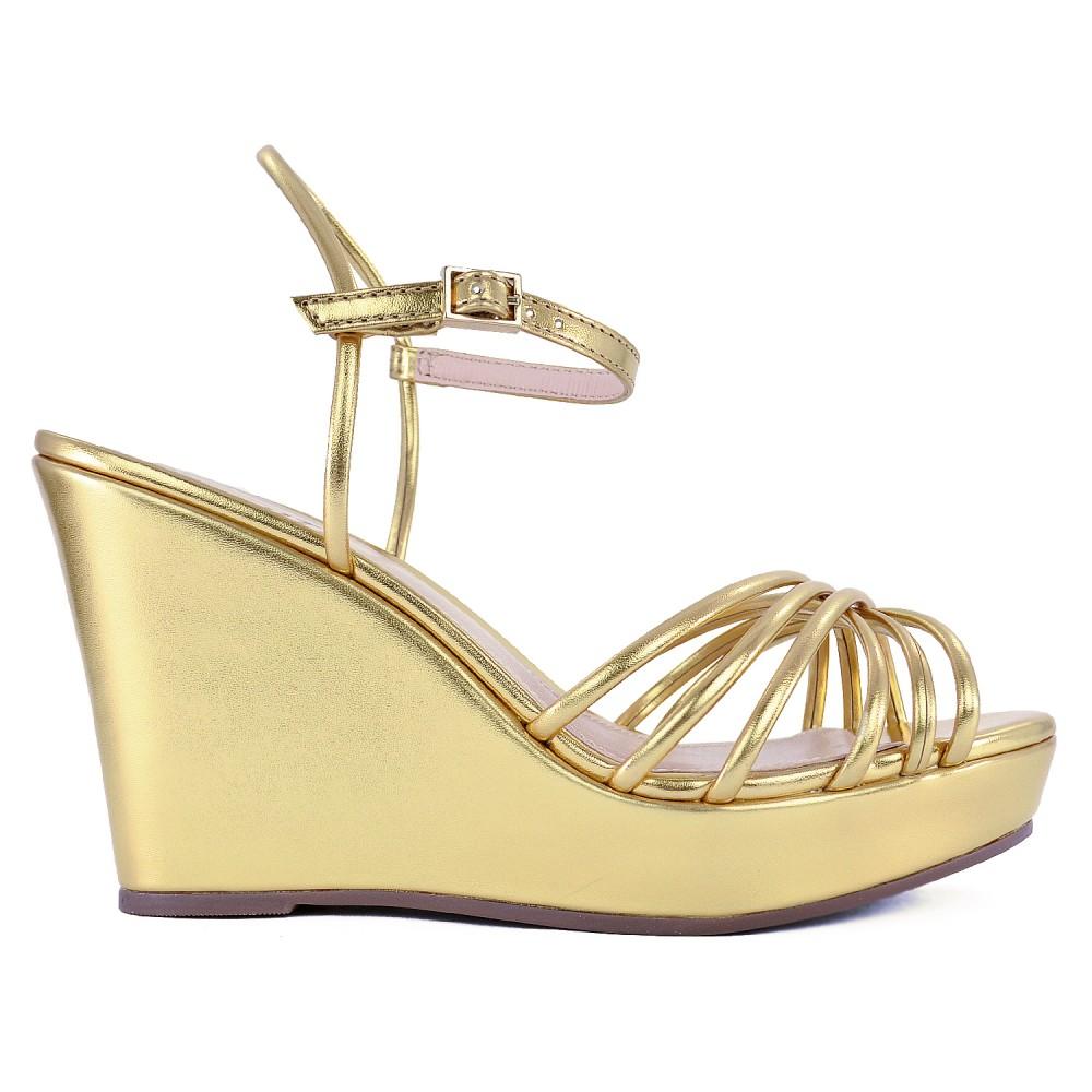 Sandália Plataforma Metalizada Schutz - Dourada