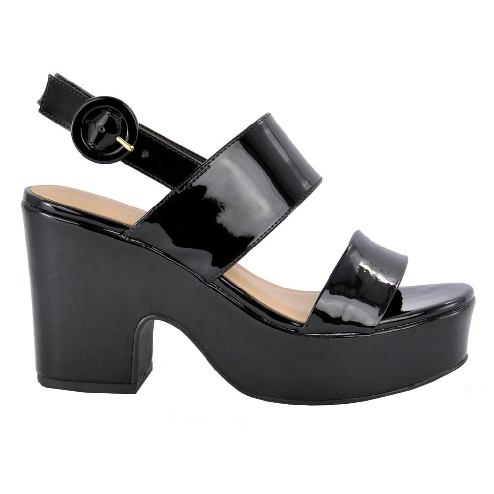 Sandália Plataforma Verniz Cecconello - Preta
