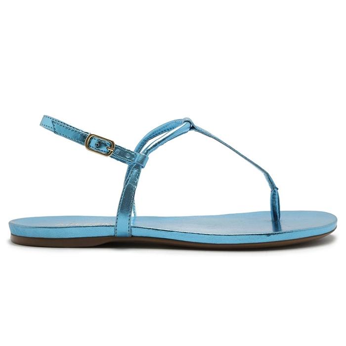 Sandália Rasteira Metalizada Tiras Arezzo - Azul