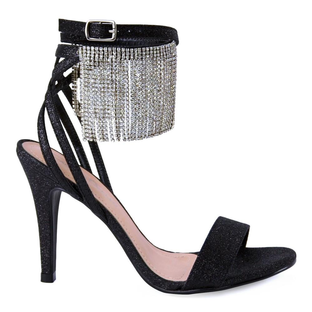 Sandália Salto Alto Strass Glamour Amanda Ayello - Preta