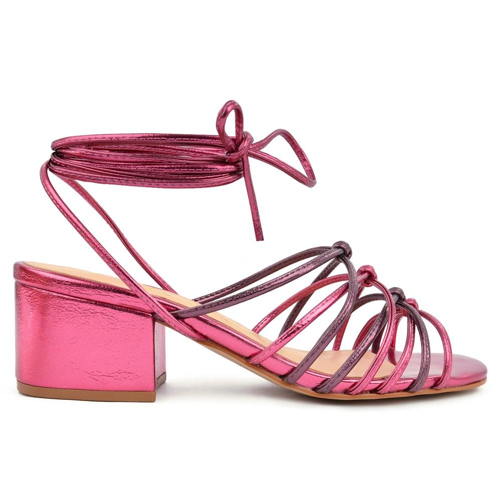 Sandália Salto Baixo Metalizada Luiza Barcelos - Pink
