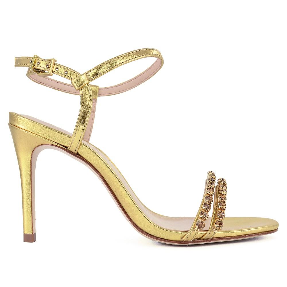 Sandália Salto Glam Stones Schutz - Dourada