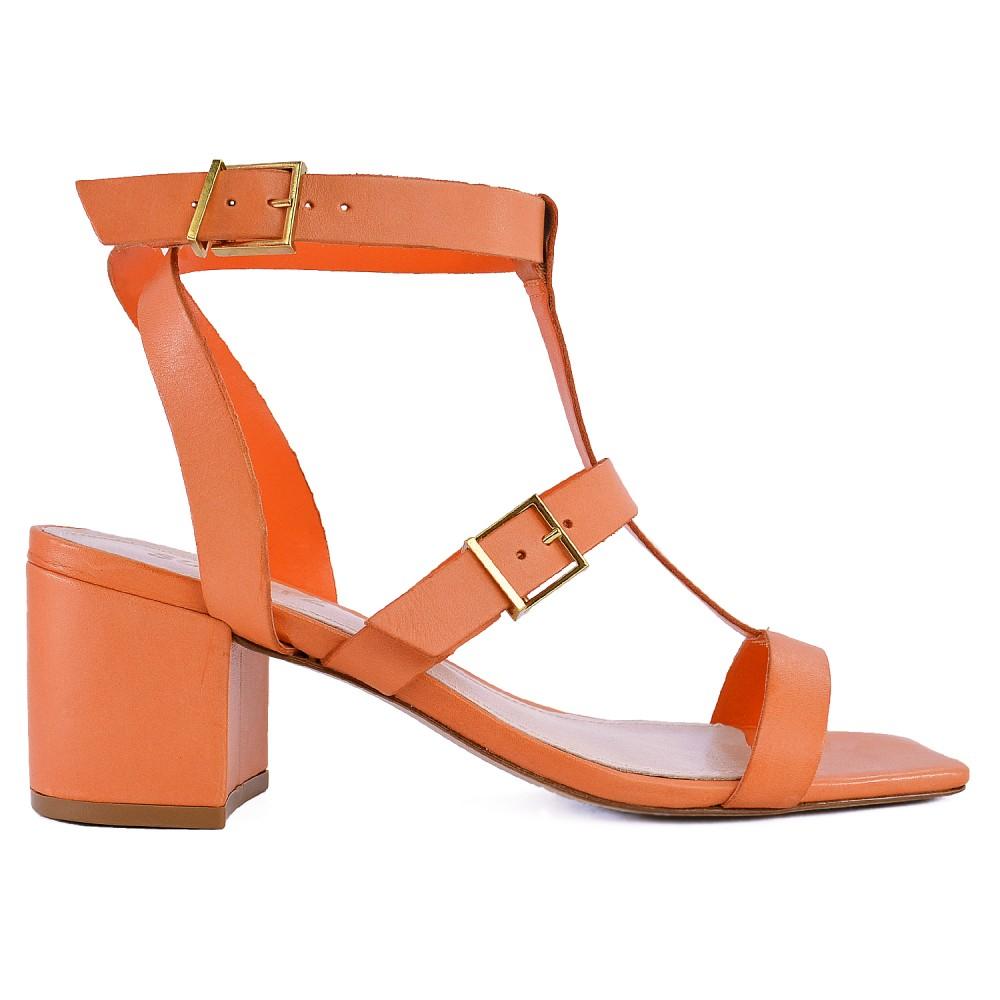 Sandália Tiras Block Heel Schutz - Orange