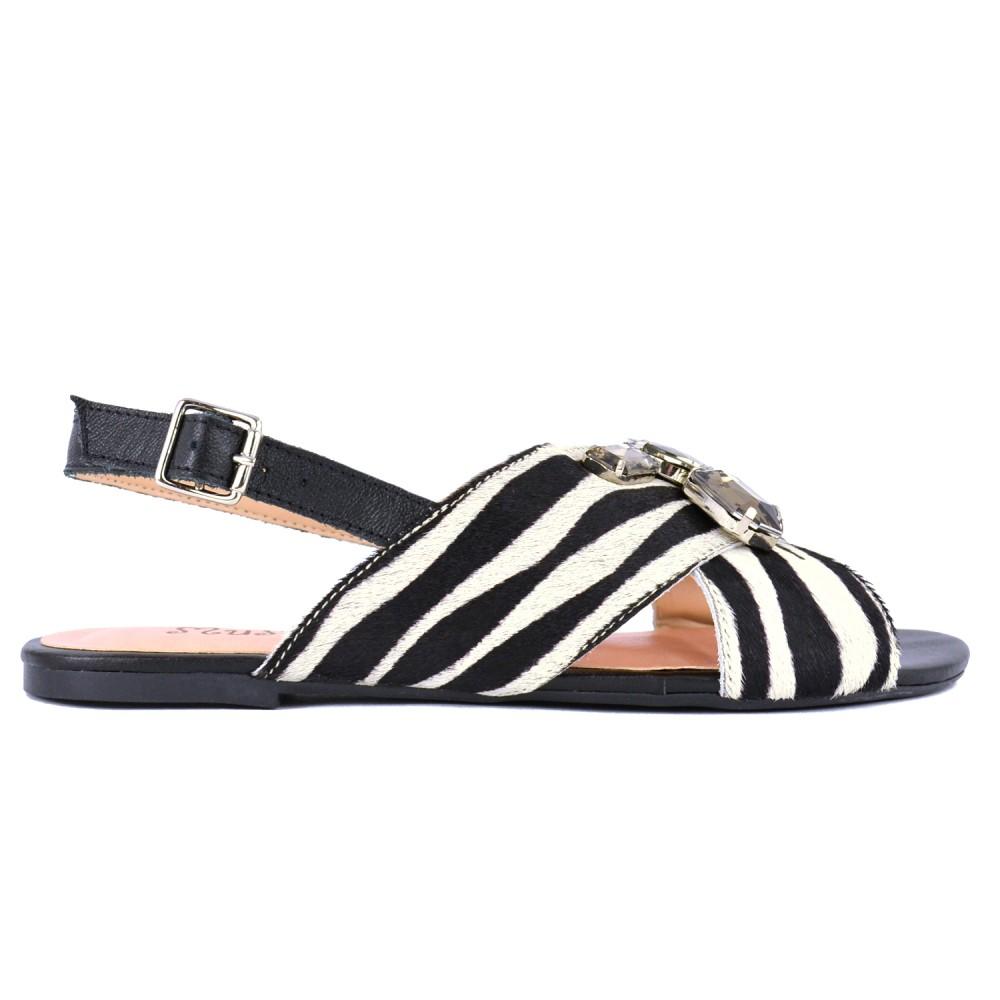 Sandália Wild Pedras Mumu - Zebra