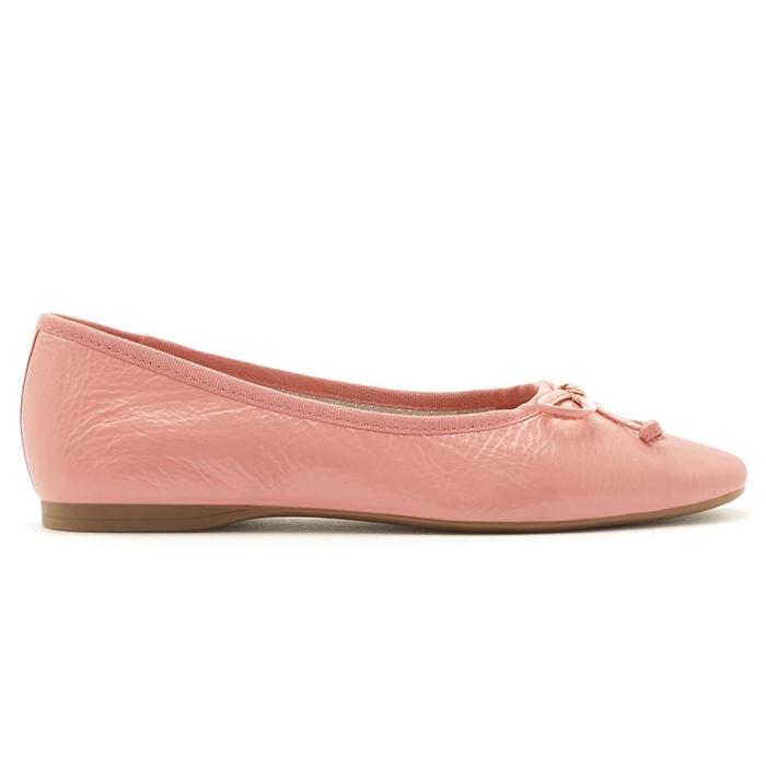 Sapatilha Touch Couro Bico Quadrado Tiny Bow Arezzo - Flower Pink