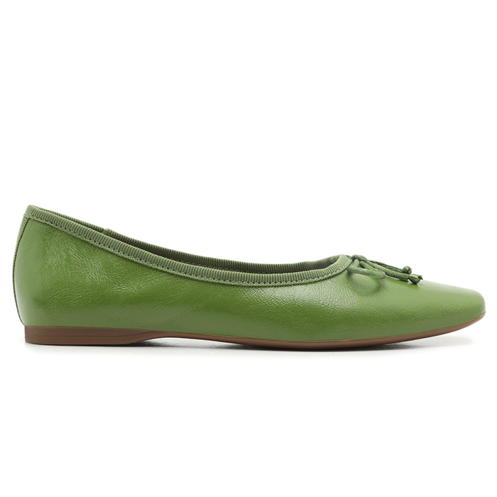 Sapatilha Touch Couro Bico Quadrado Tiny Bow Arezzo - Gaia Green