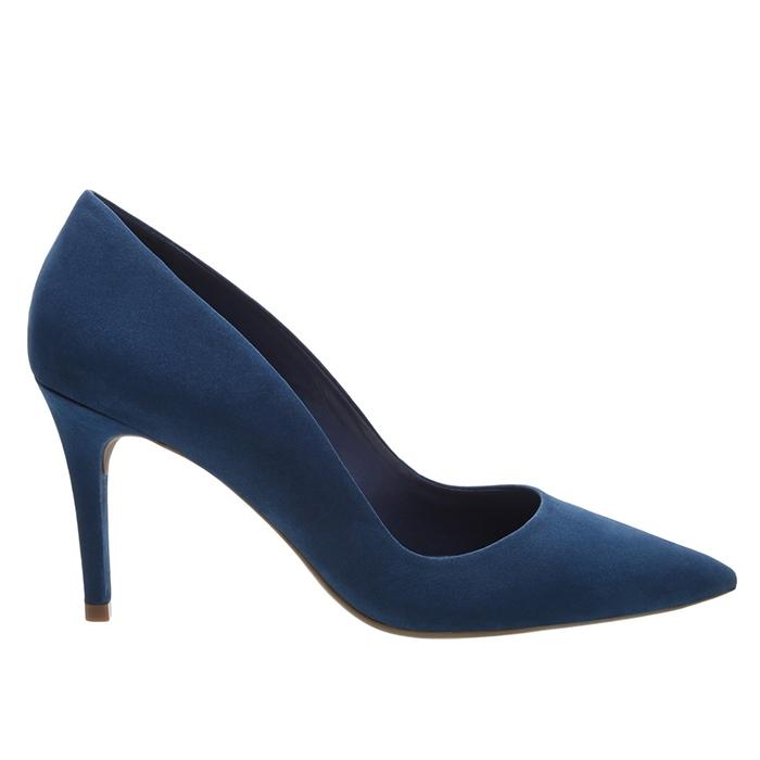 Scarpin Nobuck Salto Médio Arezzo - Blue Jeans