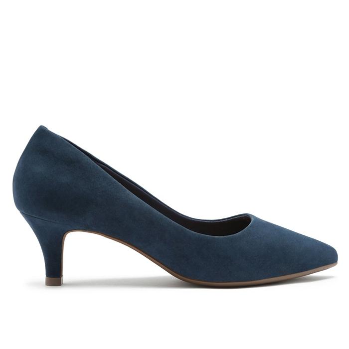 Scarpin Nobuck Soft Salto Baixo Fino Arezzo - Office Blue