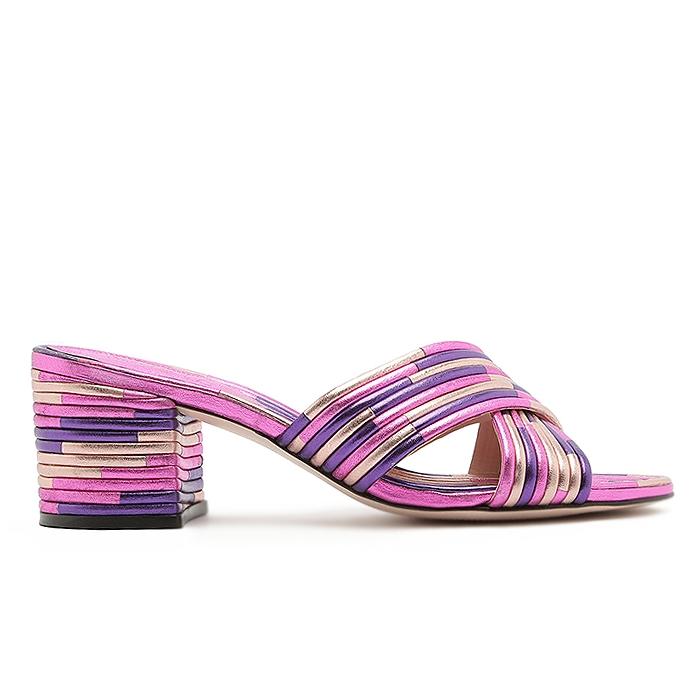 Tamanco Textures Block Heel Schutz - Metallic Purple