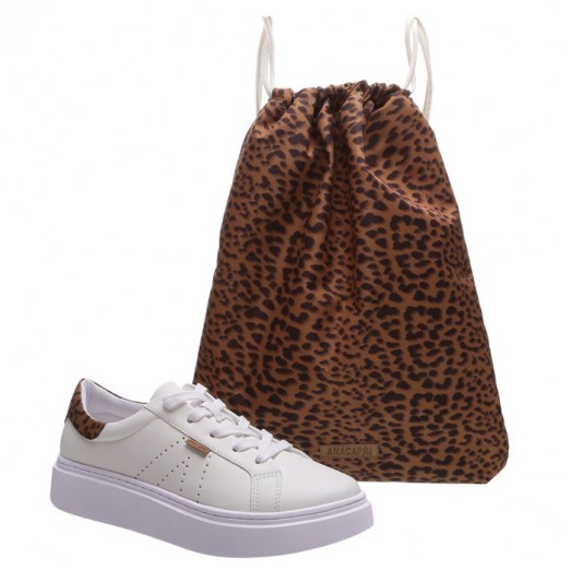 Tênis Duda Branco + Bag Anacapri - Branco/Animal Print
