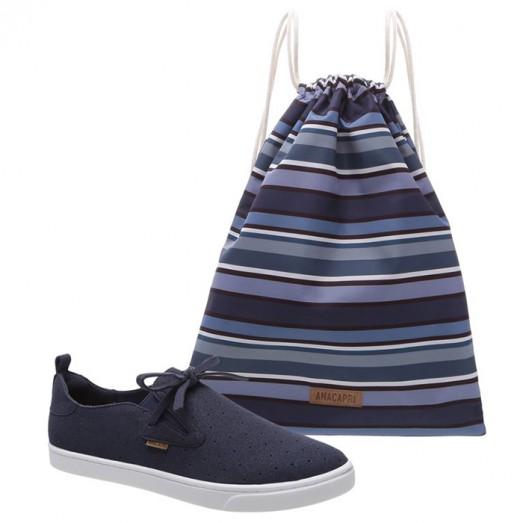 Tênis Malu Slip On + Bag Camuflada Anacapri - Azul