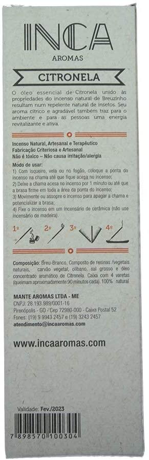 Incenso Citronela Natural Artesanal 4 Varetas Inca T4-11