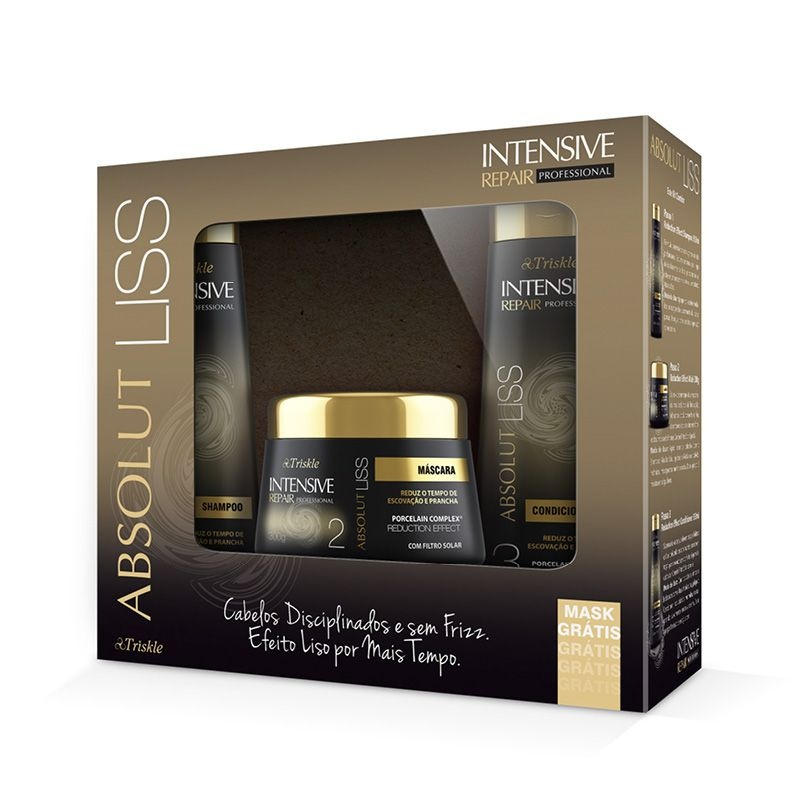 Kit Absolut Liss (Shampoo e Condicionador 350ml) + Máscara 300g Intensive Professional  - Triskle Cosméticos