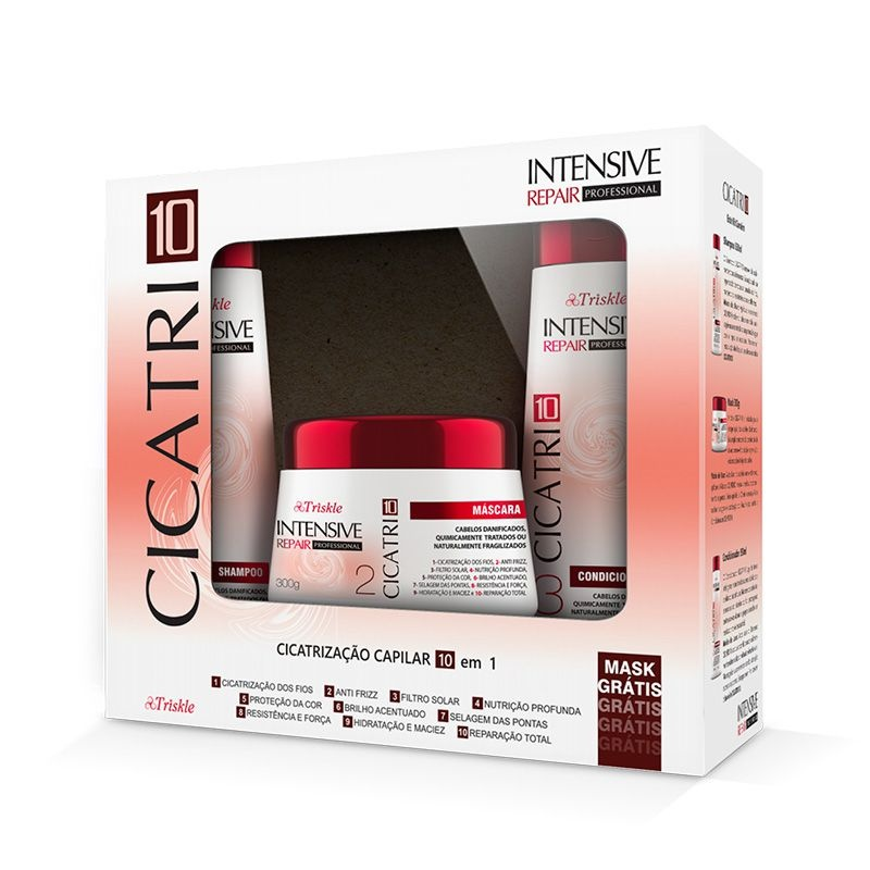 Kit Cicatri 10 (Shampoo e Condicionador 350ml) + Máscara 300g   Intensive Professional  - Triskle Cosméticos