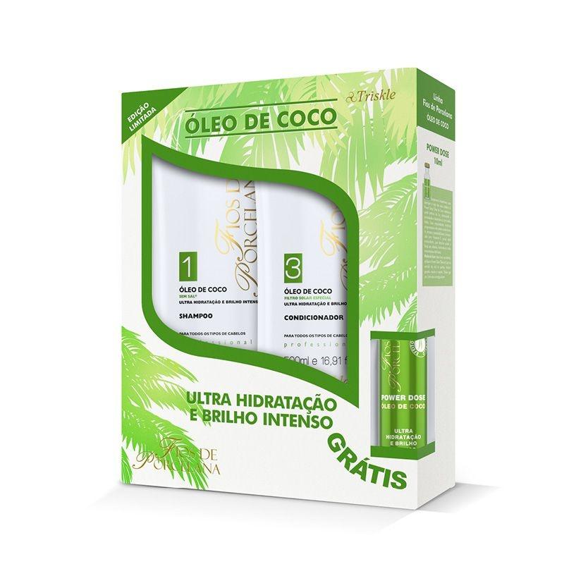 Kit Óleo De Coco (shampoo E Condicionador 500ml) + Power Dose 45ml Fios de Porcelana  - Triskle Cosméticos