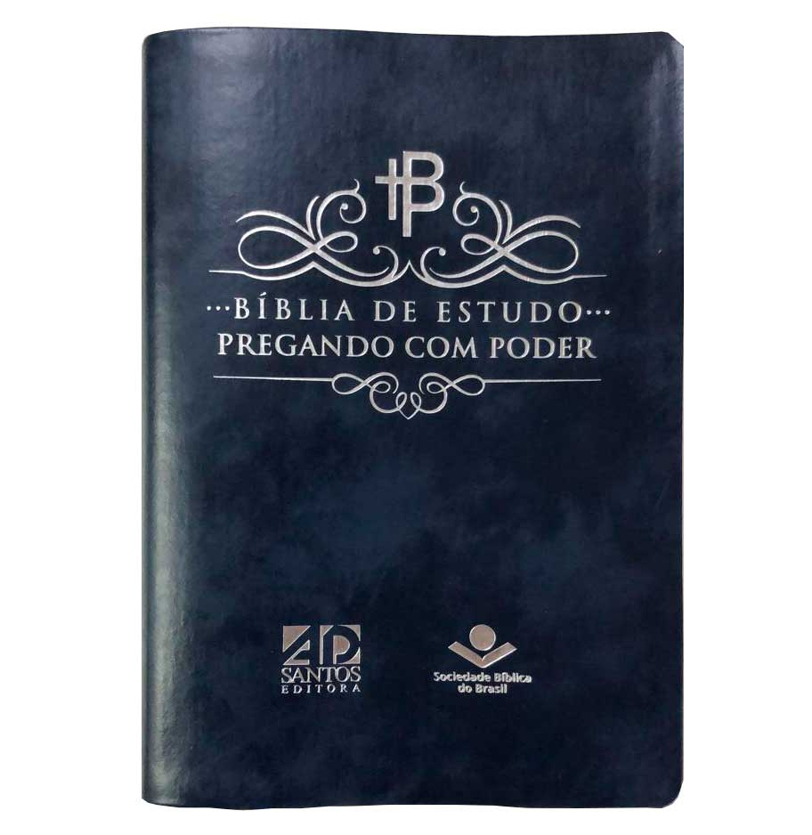 BÍBLIA DE ESTUDO PREGANDO COM PODER | CAPA AZUL NOBRE