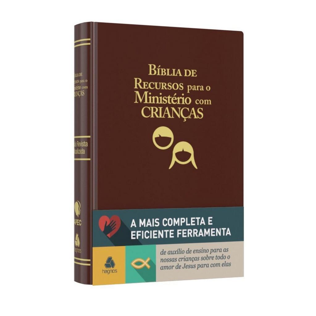 Bíblia de recursos para o ministério com crianças - Luxo couro marrom