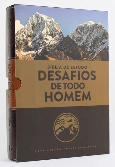 BÍBLIA ESTUDO NVT - DESAFIOS DE TODO HOMEM MARROM (CAPA LUXO - LETRA NORMAL)