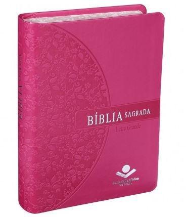 BÍBLIA SAGRADA LETRA GRANDE - ROSA