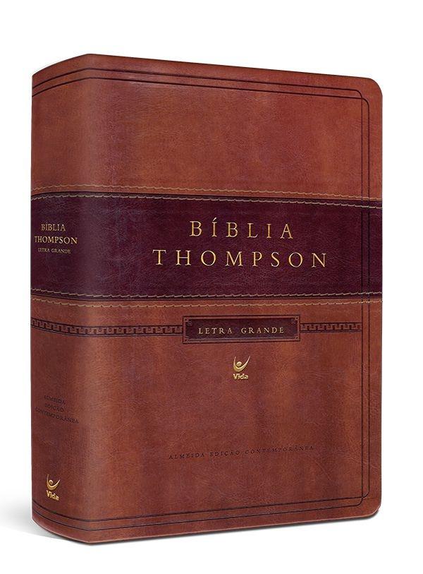 Bíblia Thompson Letra Grande sem índice - capa luxo marrom claro e escuro