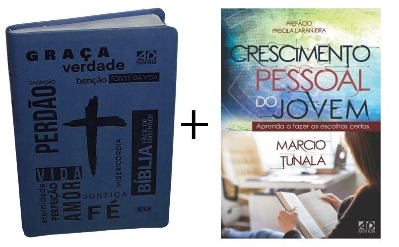 COMBO - Bíblia Fácil de Entender Azul - Crescimento Pessoal do Jovem
