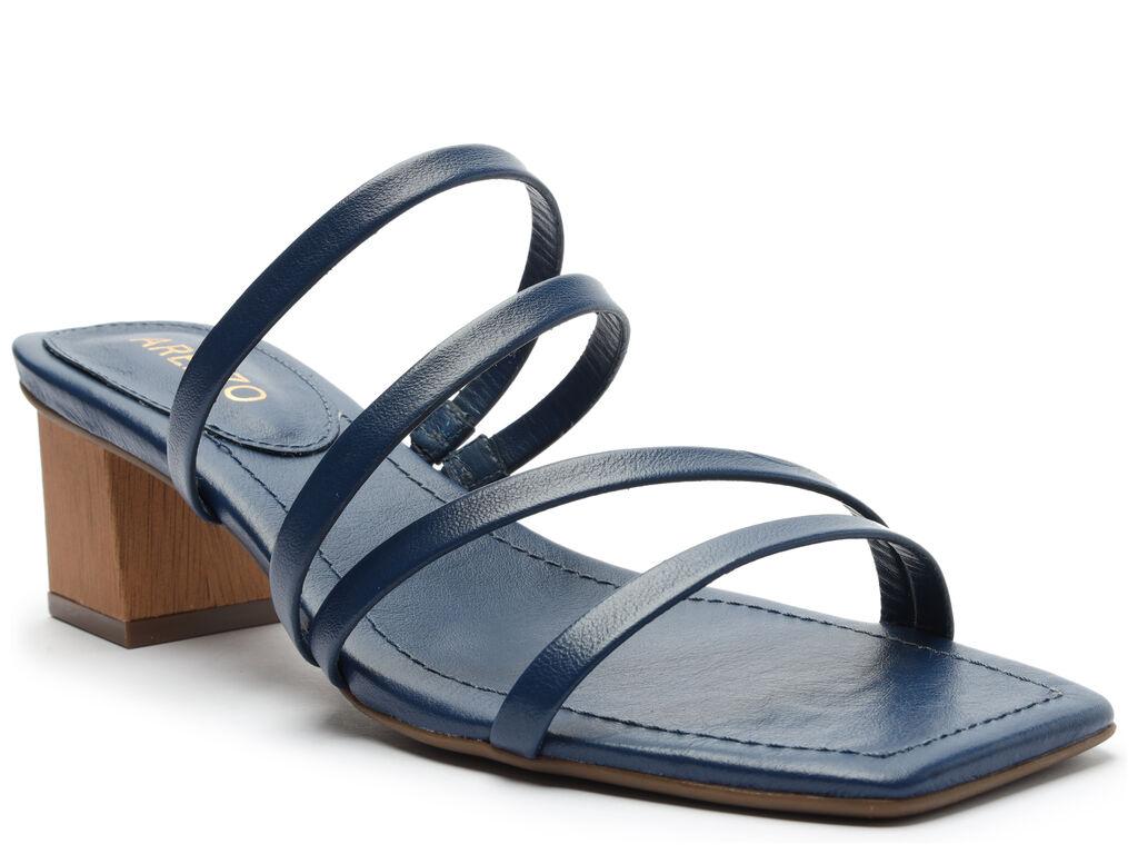 Sandália Azul Bloco Tiras