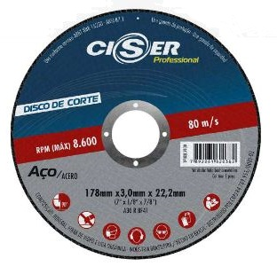 Disco  corte aço  PRO  180 x 3 x 22 mm - Ciser (10 Unidades)
