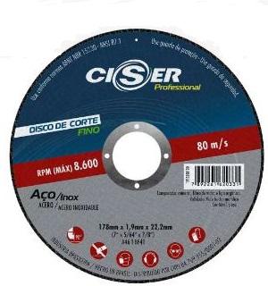 Disco de corte fino  PRO Aço/Inox 180x1,9x22,23 mm - Ciser (10 Unidades)