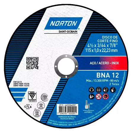 Disco de Corte para Metal e Inox 4.1/2 POL BNA 12 NORTON