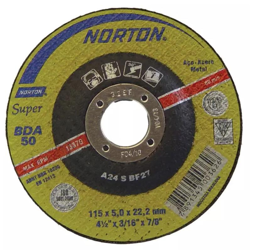 Disco de Desbaste 4.1/2 Pol C/ Furo de 7/8 BDA 50 NORTON - (10 Unidades)