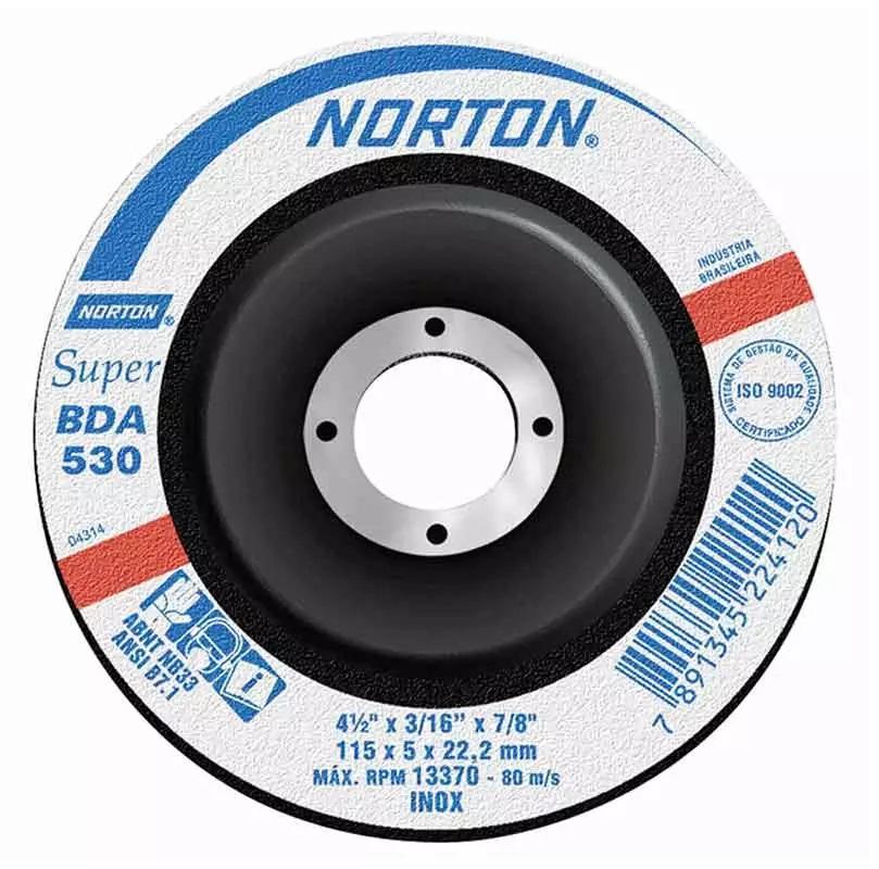 Disco de Desbaste Inox 4.1/2 Pol C/ Furo de 7/8 BDA 530 NORTON - (10 Unidades)