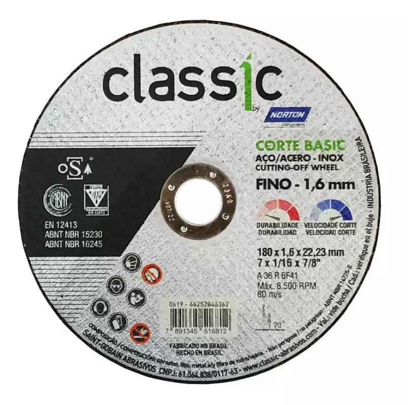 DISCO PARA CORTE - CLASSIC BASIC 7 POL - NORTON - (10 Unidades)