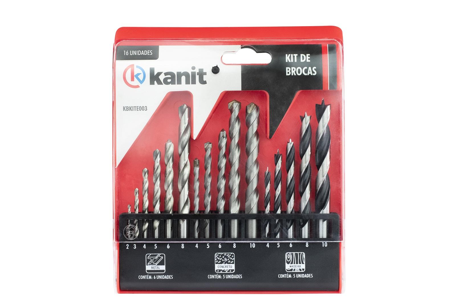Kit de 16x Brocas  para Alvenaria / Concreto / Madeira / Metal - Kanit