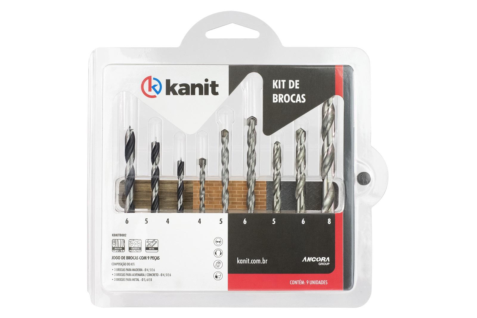 Kit de 9x Brocas para Alvenaria / Concreto / Madeira / Metal - Kanit