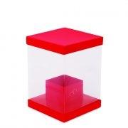 Caixa Quadrada Liso Vermelha