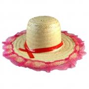 Chapéu de Palha Com Renda