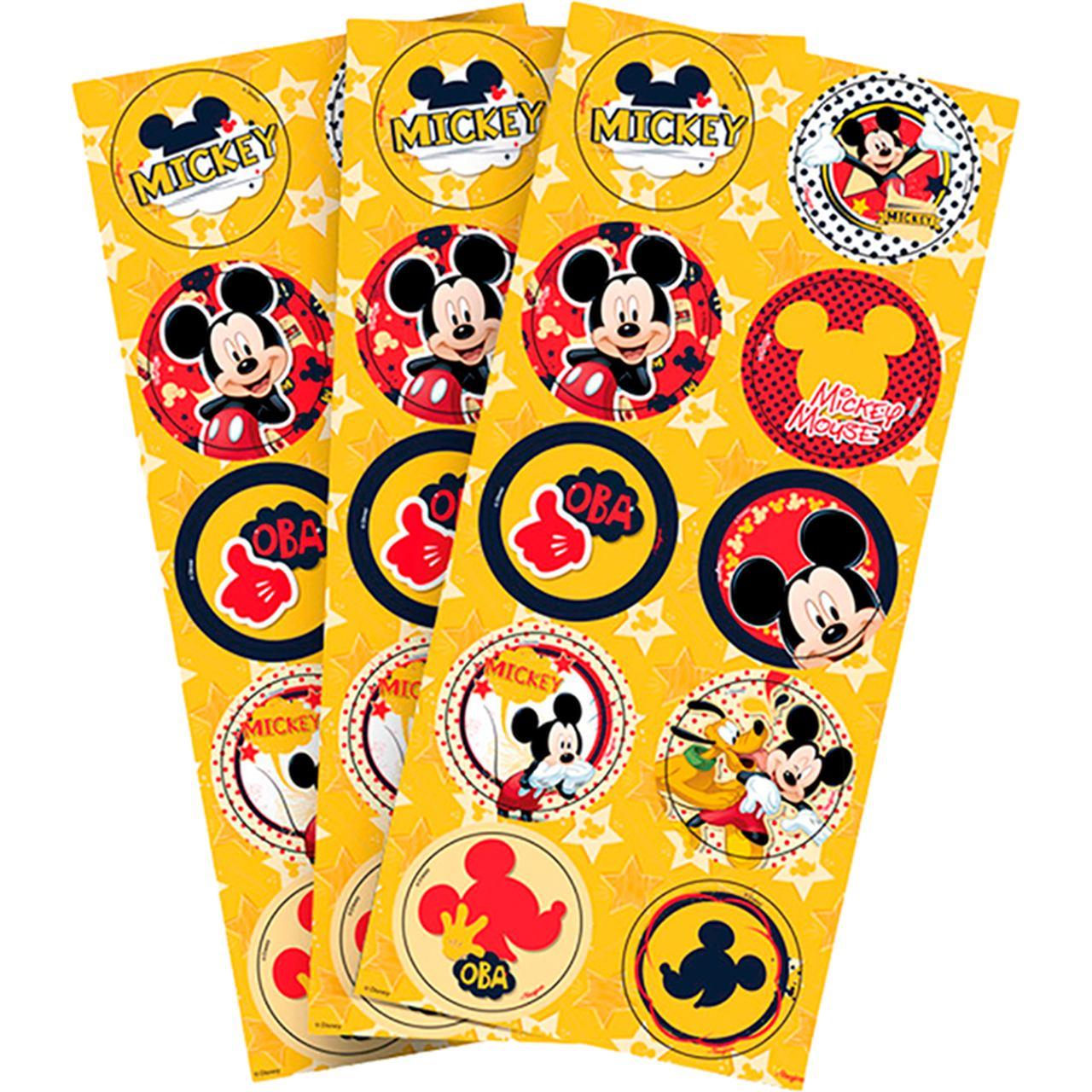 Adesivo Decorativo Redondo Mickey Mouse/ 03 Cartelas