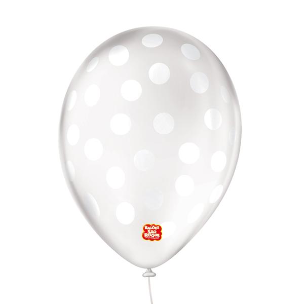 Balão Cristal Decorativo Bolinhas Branca São Roque Nº9/ 25 Unidades