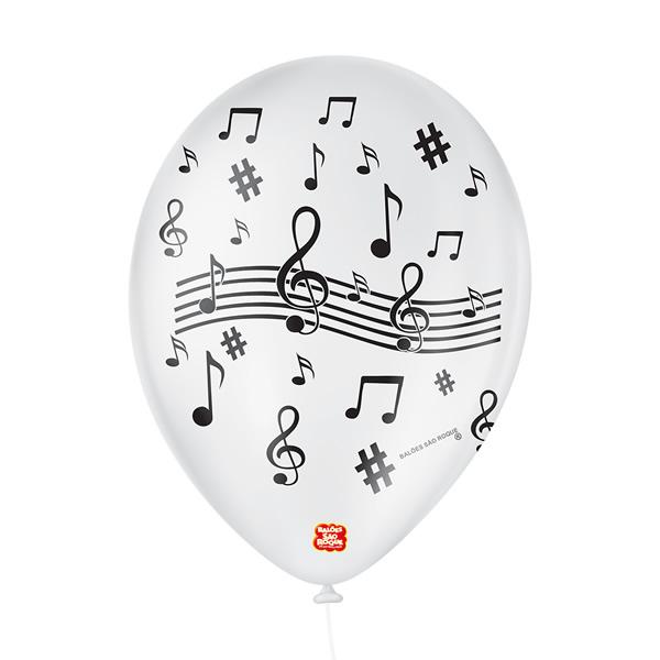 Balão Decorado Notas De Musica São Roque Nº9/ 25 Unidades