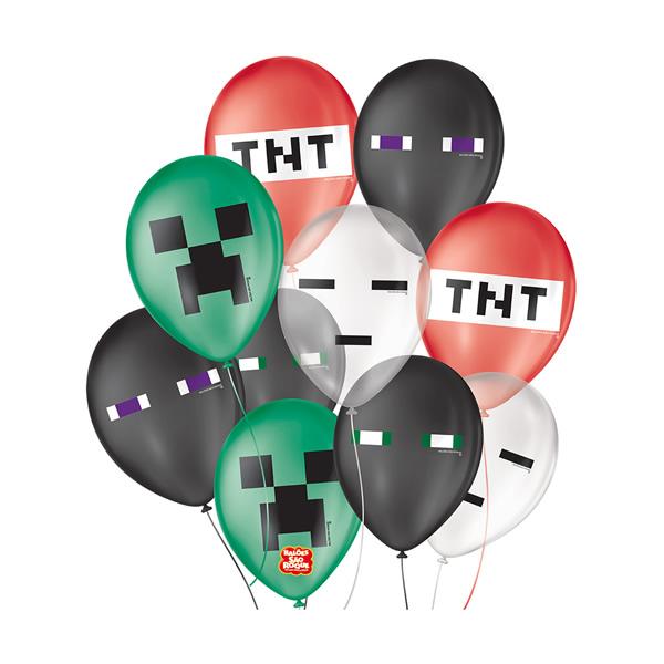 Balão Decorativo Jogos Pixel Sortido São Roque Nº9/ 25 Unidades