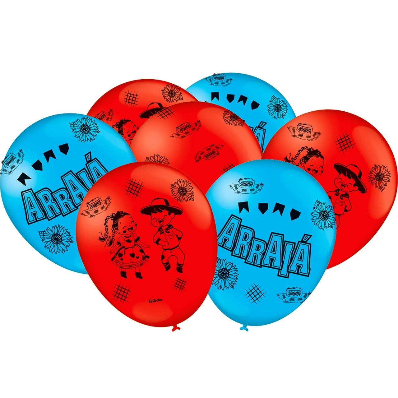 Balão Festa Junina 9''- 25 unidades